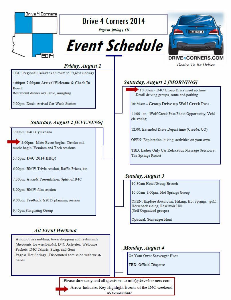 2014 preliminary schedule