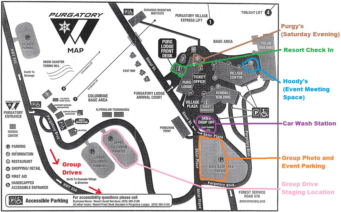 Purgatory Resort Map and 2018 Event Schedule